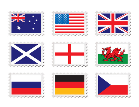 Collection of nine stamp with country flag on them Vector