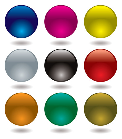 Collection of nine transparent marbles that make an ideal icon Vector