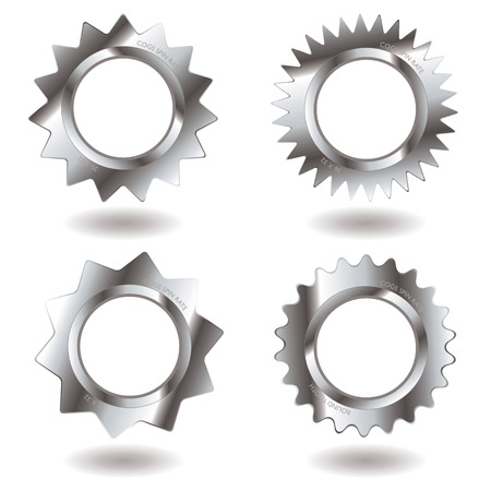Collection of metal gears with drop shadow and different teeth Vector