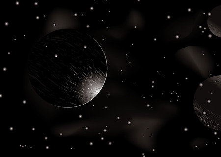 distant: Space scene with light creeping around a distant planet