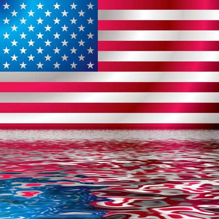 Illustrated american flag reflected in ripple water