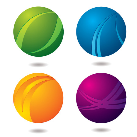 orb: Set of four abstract buttons with drop shadow