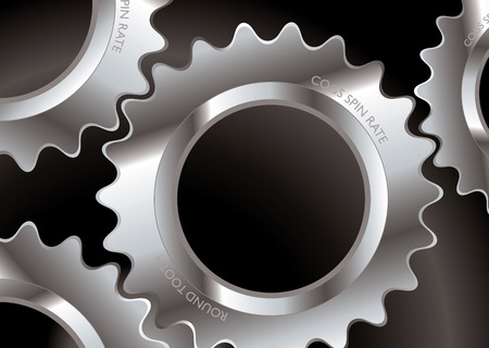 Industrial abstract background with cogs and black gradient Vector