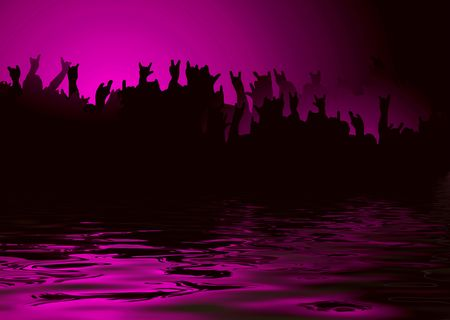 Hands raised at a rock concert reflected in water Stock Photo - 3348473