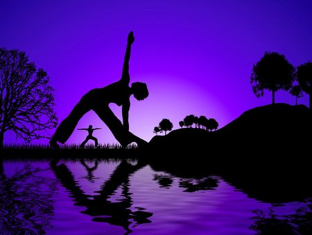Sun set glow with two women reflected whilst doing yoga Stock Photo - 3348474
