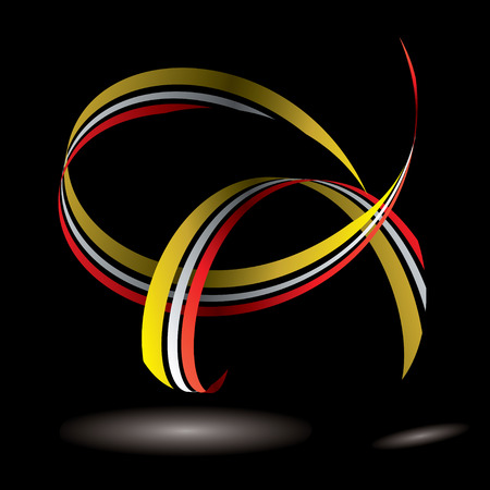 Flowing ribbon design with light reflected onto black