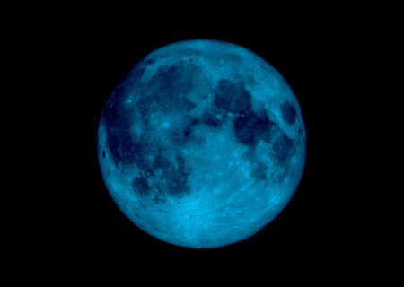 Illustrated moon in blue with a dark galaxy sky Stock Photo - 3348476