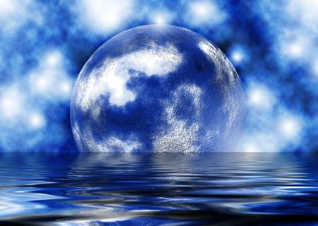 moon reflecting in water with a stella background