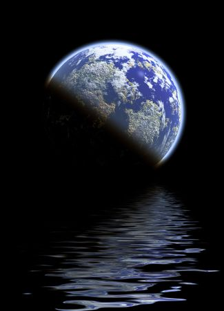 Water everywhere in this futuristic earth like scene Stock Photo - 3348483