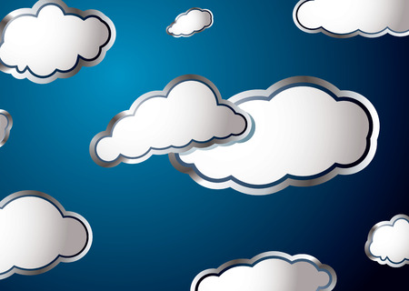 puffy: Forecast weather style background with fluffy white clouds