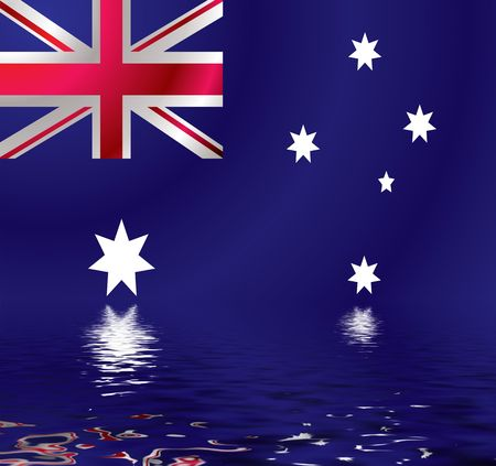 Australian flag with a wind ripple reflected in water