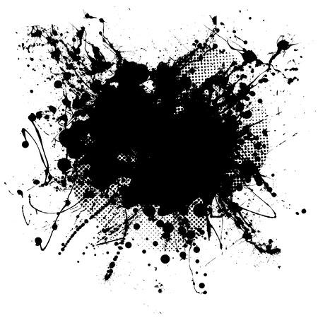 half tone: Pen ink and half tone black blob with copy space