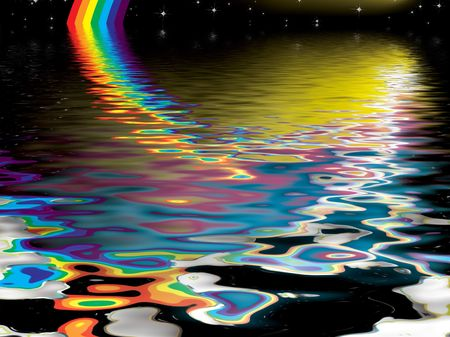 Dream like image reflected into water at night