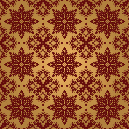 maroon background: Gold and red illustrated seamless repeating wallpaper design Illustration