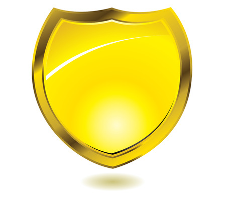 Golden shield with drop shadow and room to add text Vector