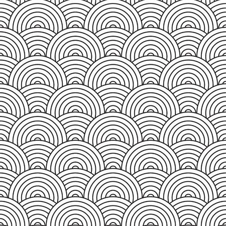 anni settanta: Anni Settanta con design ispirato ARTEX scorre cerchi in bianco e nero