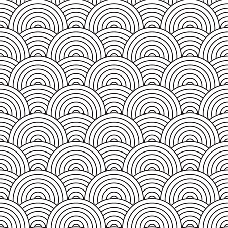 inspired: Seventies inspired artex design with flowing black and white circles Illustration