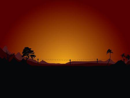 Baron desert scene at sunrise in orange and black