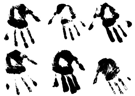 impression: inky hands imprints in both left and right hands Illustration