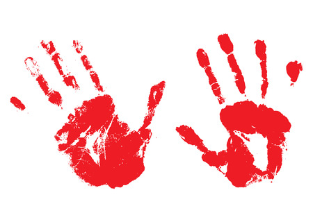 A pair of bloody hands made with ink or paint Vector