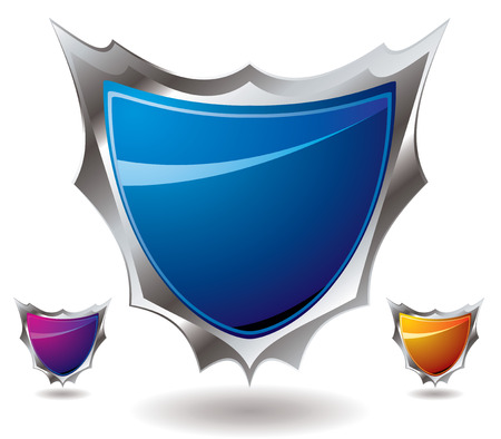 Sharp modern shield design in three different color variations Vector