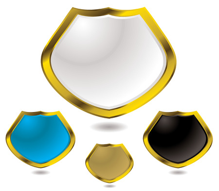 Collection of four modern shields with a drop shadow Vector