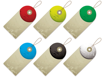 Collection of six tags with drop shadow and colour variation Vector