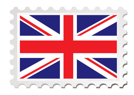 gb: British flag inspired by a stamp with drop shadow Illustration