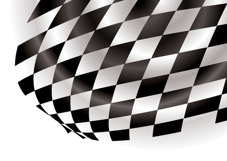 corner flag: Flapping corner of a checkered flag on a white background Illustration