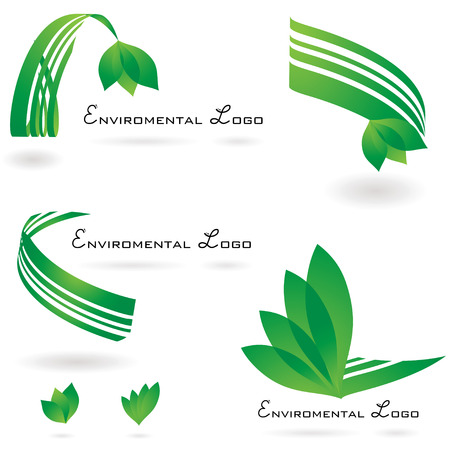 enviroment: environmental set of logos with drop shadow and leaf Illustration