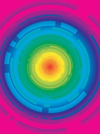 Futuristic rainbow designed background with segmented circular design Stock Vector - 3464747