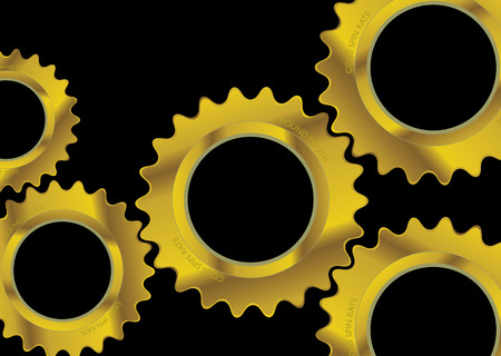 Modern black industrial background image with golden cogs Stock Vector - 3464750
