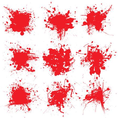 blutspritzer: Sammlung von neun splats Blut auf wei�em Hintergrund Illustration