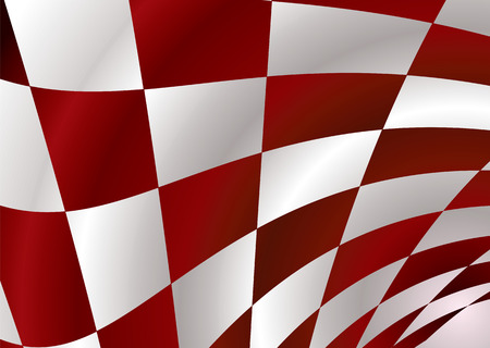 checker: Red and white checker flag bellowing in the wind Illustration