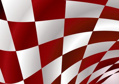 checker flag: Roja y blanca, bandera inspector bellowing en el viento