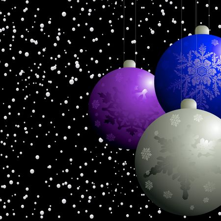 christmas decorations in a snow storm on a black winters background Stock Photo - 3474795