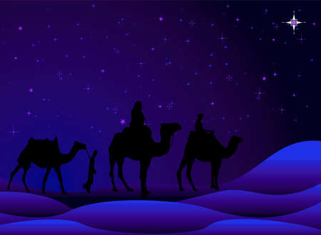 traditional christmas scene with camels and a starry sky