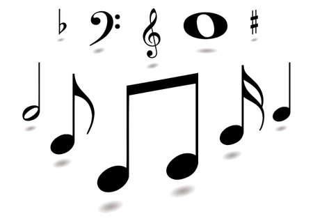 clave de fa: Colecci�n de notas musicales con la sombra cayente en negro  Vectores