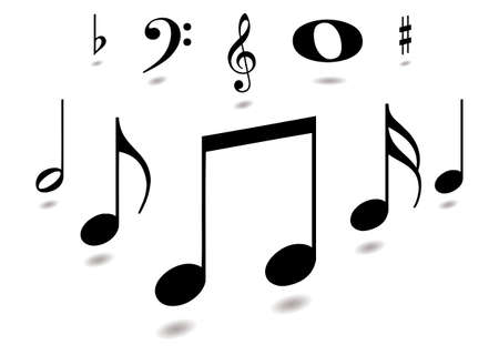 musical notes: Collection of musical notes with drop shadow in black