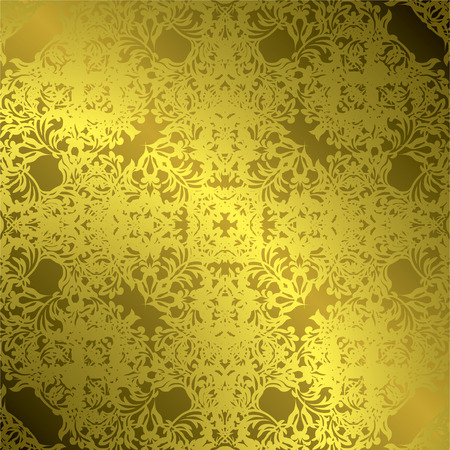 Floral gothic illustrated golden tile with a repeating pattern