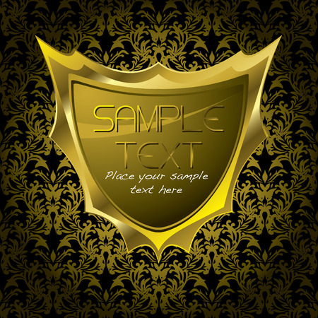 Golden shield on a golden floral background with copy space Vector