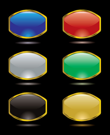 Collection of six gel filled buttons for the internet Stock Vector - 3518962