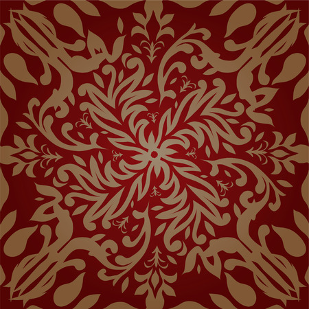 maroon and gold retro wallpaper design that seamlessly repeats Vector
