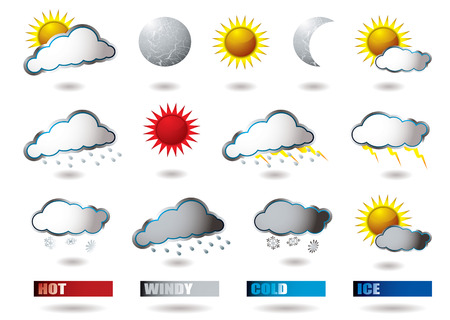 sunny cold days: collection of weather icons all with drop shadow Illustration