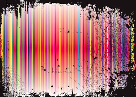 illustrated rainbow abstract background with grunge gothic border