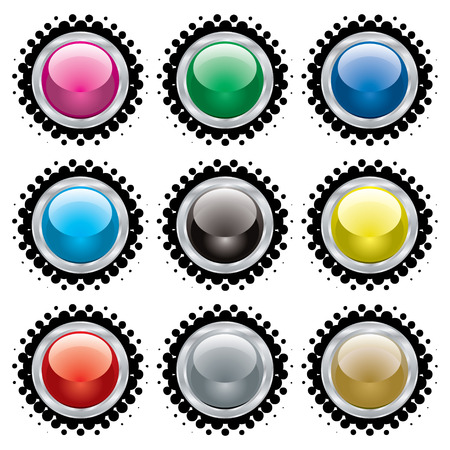 Collection of buttons with silver bevel and black halftone Stock Vector - 3568453