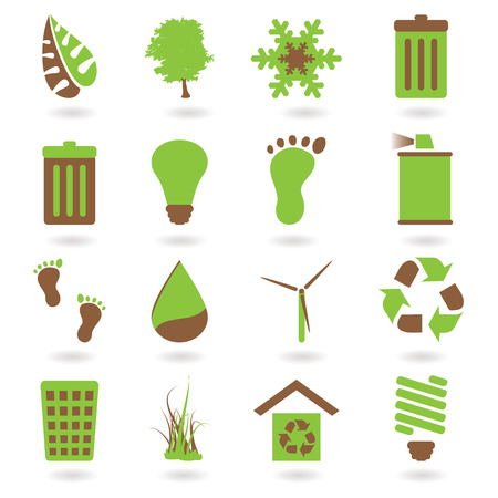 Collection of two tone eco green icons with shadow