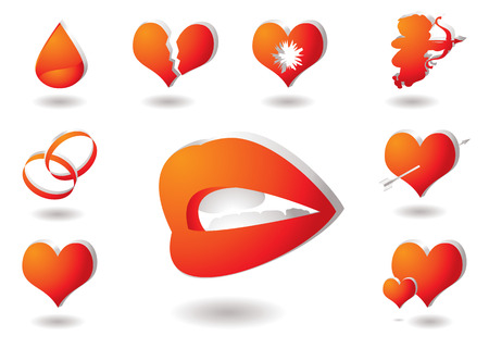 Collection of red and orange love icons with drop shadow