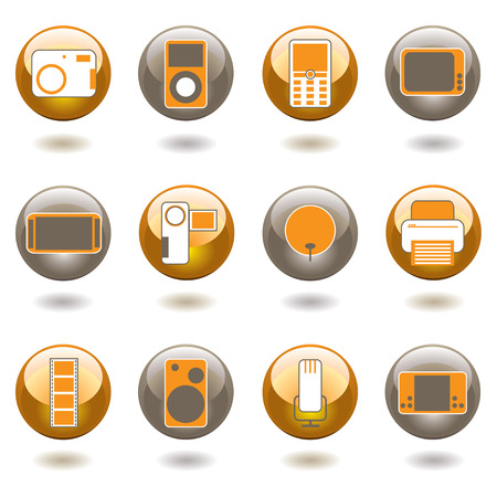 Collection of twelve technology inspired buttons with shadow Vector