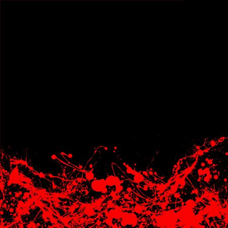 bloody ink splat placed on top of a black background with copy space